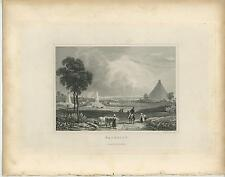 ANTIQUE WATERLOO BELGIUM BUTTE DE LION VILLAGE HOSE COWS FAMER PASTURE OLD PRINT