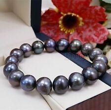 Fashion Women's 8-9MM Natural Black Freshwater Pearl Stretch Bracelet 7.5''