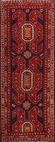 Hand-Knotted Vintage Tribal Geometric Runner Rug Wool Oriental Carpet 4'x10'