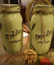 set of 2.Glass extra tall 9 inch distressed green mason jars with distressed