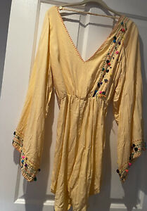 SOUTH OF THE BORDER Boho long sleeve Embellished detail romper playsuit size sml