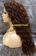 "30"" Long Spiral Curls Auburn Brown Mix Full Lace Front Wig Heat Ok Hair Piece"