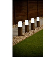 4pk Solar Powered Rattan Effect Post Solar Lights Garden Outdoor Decor