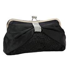 Ladies Diamante Satin Bow Lace Clutch Bag Wedding Evening Purse Bag Black