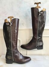 CLARKS Brown Leather Snakeskin Calf Knee High Zipped Boot Shoes 39 Size 6