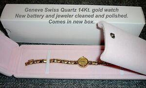 14KT YELLOW GOLD LADIES GENEVE SWISS WATCH - new battery - box - 17 grams
