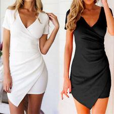 Women Sexy Deep V Short Sleeve Bodycon Wrap Evening Party Nightclub Mini Dress