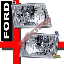 92-04 Ford Econoline Van E150 E250 E350 Headlights Head Lamps RH + LH