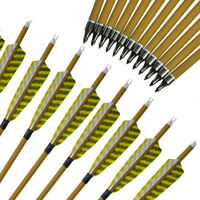 """30"""" Archery Carbon Arrows SP500 Wooden Skin Shaft Handmade Natural Feather"""