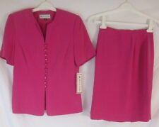 Travis Ayers 100% Silk 2 Piece Lined Fuchsia Pink Skirt Set Women's 8 - J188 New