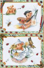 Chromo Le Suh Nounours Peinture Thé 1919 Embossed Illustrations Teddy Tea