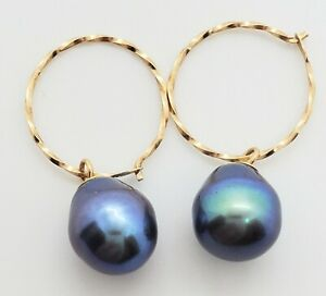 Unique 14k Yellow Gold Twisted Hoops Pear Shaped Black Cultured Pearls Earrings