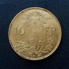 RARE 10 Francs Or Suisse 1912 B - Demi Vrénéli
