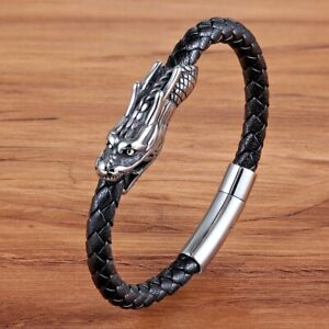 Men Jewelry Chinese Dragon Pattern Genuine Leather Bracelet with Magnet Gift