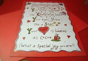 "Great-Granddaughter CHRISTMAS Greeting Card "" Great-Granddaughter "" C43"