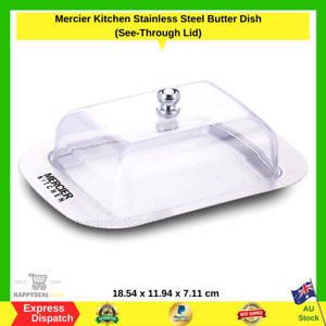 Mercier Kitchen Stainless Steel Butter Dish (Unbreakable See-Through Lid) NEW AU