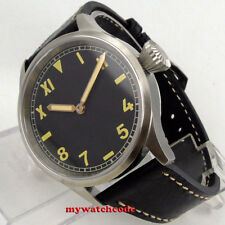 43mm PARNIS black California dial sapphire crystal hand winding 6497 mens watch