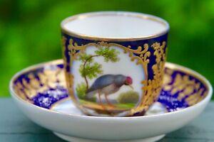 Feuillet Rue de la Paix Old Paris c1820 Cobalt Bird Sevres Style Cup Saucer