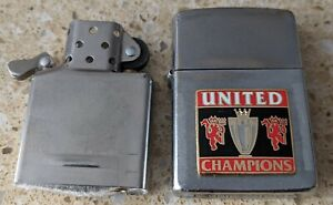 Original Zippo Chrome Lighter - Customised for a Manchester United theme - used