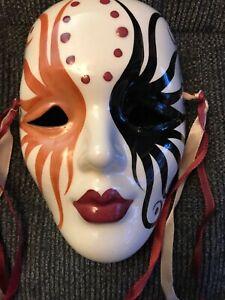 MARDI GRAS MASK New Orleans 1986 Decorative Ceramic/Glass Wall Mask Signed K.D.