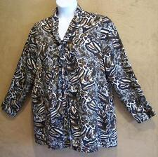 ULLA POPKEN Animal Print Button Blouse with Neck Tie 16 / 18 Relaxed Fit