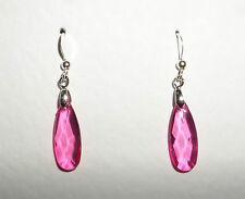Delgado caliente rosa acrílico cristal facetado lágrima plata plateado pendientes gancho