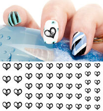 Black Heart Nail Art Waterslide Decals - Salon Quality! Valentines Day!