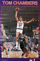 Vintage 1989 TOM CHAMBERS 34 x 22 Phoenix Suns NBA Starline Poster RARE