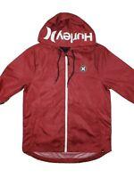 Hurley Mens medium lightweight full zip Windbreaker Rain Jacket red hooded