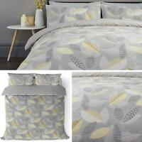 Grey Duvet Covers Ochre Geometric Leaf Print Reversible Quilt Cover Bedding Sets