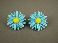 """Blue Yellow plastic cabochon daisy flower floral stud post earrings 1"""" wide"""