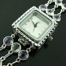 WATCH REAL 925 SOLID STERLING SILVER DIAMOND SIMULATED ANTIQUE AMETHYST DESIGN
