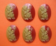 6 Fantasy SHELL Look FAIRY & MAGNOLIA 40mm x 30mm Costume Jewelry Craft CAMEOS