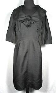 Vintage 594mS Leslie Fay Diseñador Seda Negra Vestido de Cóctel Talla 10