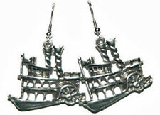 PEWTER RIVERBOAT DANGLE EARRINGS (D275)