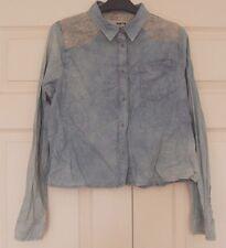 New Topshop Moto Sz 10 Denim acid wash shirt Lace Embroidered Shoulders
