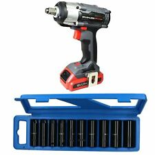 "18v 1/2"" Drive Li-on Cordless Battery Impact Gun & 10 Deep MM Impact Sockets"