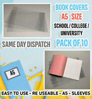 A5 PLASTIC PVC RE-USABLE PROTECTIVE SLEEVE/EXERCISE BOOK📚 COVERS 📔 PACK OF 10