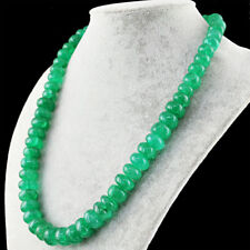 Green Emerald 670.00 Cts Earth Mined Round Shape Beads Single Strand Necklace