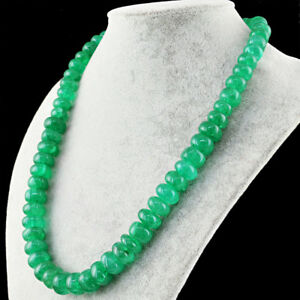 Green Emerald 670.00 Cts Earth Mined Round Beads Single Strand Necklace (DG)