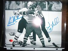 JAY MILLER CHRIS NILAN FIGHT AUTOGRAPHED 8x10 PHOTO BOSTON BRUINS CANADIENS