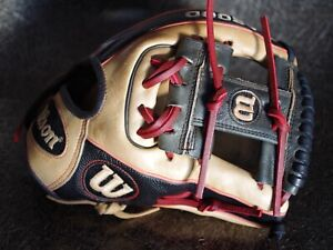 "Wilson A2000 DP15 11.5"" Pedroia SuperSkin Baseball Glove RHT Relaced Recondition"
