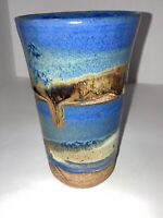 Hand Made Pottery Vase Country Blue And Earth Tones 6in.