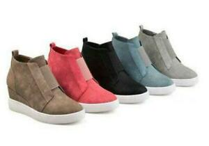 Womens Hidden Wedge Heel Casual High Top Shoes Round Toe Buckle Ankle Boots Pump