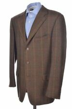Ermenegildo Zegna Brown Plaid Check 100% Wool Blazer Sport Coat Jacket - 42 R