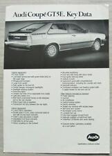AUDI COUPE GT5E Car Sales Specification Leaflet c1982