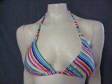 Express swimwear padded striped triangle swim top size L