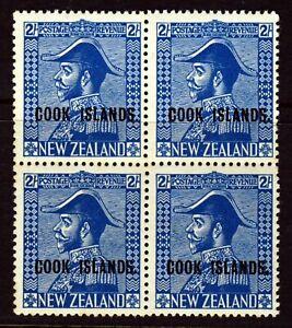 COOK ISLANDS 1936 Overprinted 2/- Blue BLOCK OF FOUR NZ Admiral SG 116 MNH