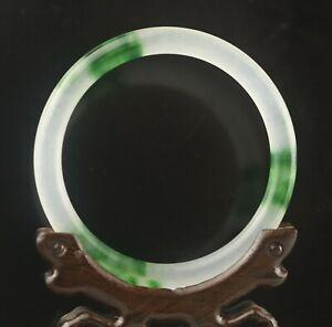 Old natural green jade hand-carved bracelet green color bangle