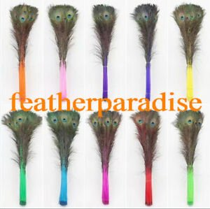 10 pcs 30-35 inches Dyed Peacock Eyes Long Peacock Feathers Multi-colors